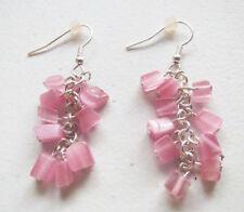 Premier Designs Jewelry Catalina Pink cat's eye beads in Silver Earrings