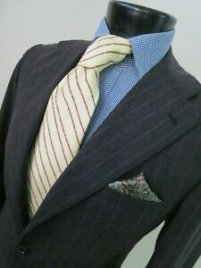 Kiton Napoli Hand made in Italy charcoal gray chalk stripe side vented suit 40 R