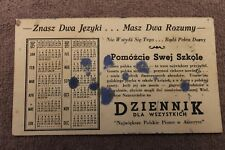 Original WW2 Polish Home Front Calendar Card 1940 dated