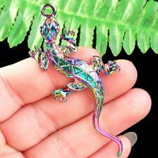 Q93901 Rainbow Tibetan Silver Carved Gecko Pendant Bead 73x30x4mm