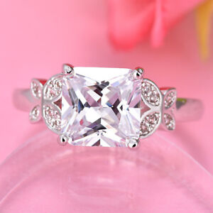 Wedding & Engagement Square Natural White Fire Topaz Gems Silver Ring Size 6-9