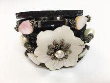 New Anthony Alexander Black Leather & Mother Of Pearl Flower Snap Cuff Bracelet