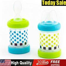 Sassy Baby Food Nurser Cereal Feeder Bottles Nipple Spoon 4+ Months 4oz Set of 2