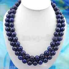 Natural 10mm Blue Egyptian Lapis Lazuli Round Beads Gemstone Necklace 36 Inch