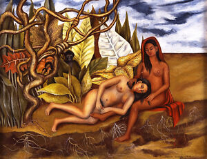 Frida Kahlo Two naked in the forest canvas print giclee 8X12&12X17
