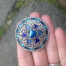 Vintage Miracle Britain Anglo Saxon Style Circular Brooch with Blue Stones