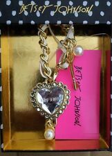 NIB BETSEY JOHNSON CRYSTAL HEART LOCK KEY DANGLE PURSE BAG CHARM KEY CHAIN $24