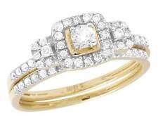 Ladies 10K Yellow Gold Real Diamond Halo 2 Piece Engagement Ring Set 0.55 CT 7MM