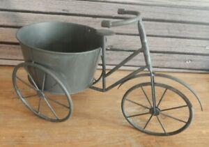 Grey metal Tricycle planter garden ornament Rustic style trike UK seller