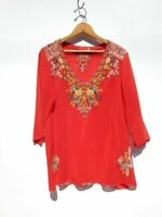 JOHNNY WAS ~ JWLA ~ True Red Embroidered Hippie Bohemian Tunic Top Blouse ~ XS