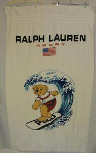 Vintage 90s Ralph Lauren Sports POLO Beach Towel Surfer Bear Surf Flag 35x61