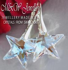 925 Silver Earrings Crystals from Swarovski® * STAR * 20mm CRYSTAL BLUE AB
