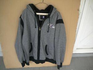 Baltimore Ravens Gray/Black Zip-Up Hoodie NFL Pro Line Men's 2XL Fleece Lined