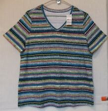 Studio Works Size 1X  Abstract dash stripe top, V neck, short sleeve, Multi NWT