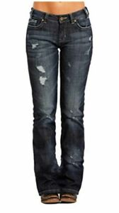 Rock & Roll Cowgirl Mid Rise Boyfriend Boot Cut Jeans W2-8473 - 25 or 26 x 34