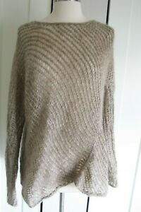 Eileen Fisher Sweater Open Knit Mohair & Wool  Pullover Womens XL Oatmeal Color