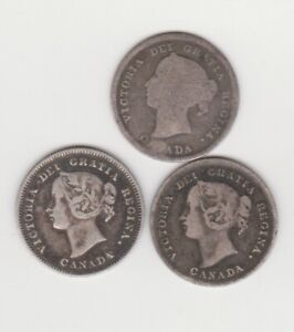 CANADA 5 CENTS QUEEN VICTORIA  SILVER COINS LOT OF 3 1890 1899  1901