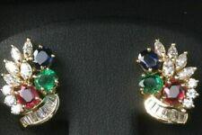 Estate & RARE Sapphire,Emerald,Ruby & Diamond 14k Yellow Gold Over Earrings Set