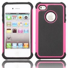 iPhone 4 4S Rubber Dual Layer Heavy Duty Impact Shockproof Hybrid Case - Pink
