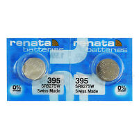2 x Renata 395 Silver oxide batteries 1.55V SR927W SR57 399 Watch 0% Mercury