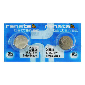 2 x Renata 395 Silver oxide batteries 1.55V SR927W SR57 399 Watch 0% Mercury