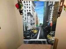 New listing Downtown City Street Original Pastel w/ U.S. Flags Taxi Abstract Signed
