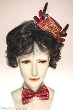 """Christmas Mini Top Hat & Bow Tie Set Rd Sequin """"Antler"""" Hat & Tie Novelty Set"""