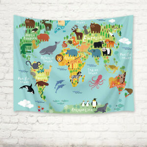 Tapestry Wall Hanging World Animal Map Bedroom Bedspread Home Decor Wall Cloth