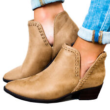 Women Round Toe Ankle Boots Casual Block Mid Heel Winter Shoes Booties Plus Size