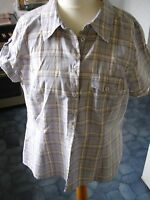 Ladies short sleeved lilac check blouse