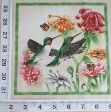 """THREE Red Throated Hummingbird  Fabric Different 7"""" Quilt Block Squares"""
