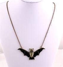 Charm Women Fashion Jewelry Black Enamel Bat Pendant Vintage Chain Necklace Gift