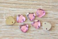TK8 Heart Light Pink 100pcs 8x8mm Flatback Acrylic Resin Jewel Sew On