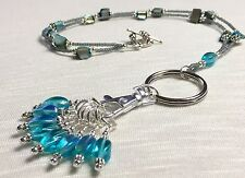 Handmade Beaded Knitting Stitch Marker Necklace Lanyard- Aqua/Teal