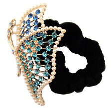 Dance hair accessory- HR0091 Black scrunchie decorated with a sparkling blue