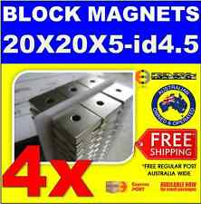 4 x BLOCK Neo Magnets 20 x 20 x 5mm with hole 4.5mm N38M ≤100ºC