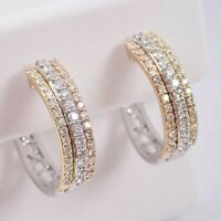 1/2Ct Round Diamond 14K White Gold Over Tri Color Huggies Hoop Earrings Sale On!