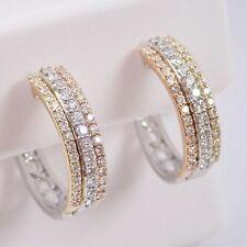 1/2 CT Round Cut Diamond 14K White Gold Finish Tri Color Huggies Hoop Earrings