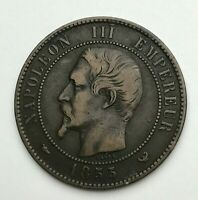 Dated : 1855 W - France - 10 Centimes - Dix Centimes Coin - Napoleon III