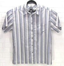 Kuhl Outdoors Men's XL Short Sleeve Button Up Striped White Blue Gray Shirt EUC