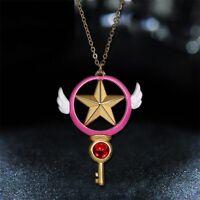 Anime Card Captor Sakura Kinomoto Star Wand Key Pendant Metal Necklace Cosplay.