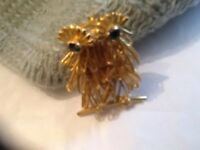 Brooch Pin Signed Direction One Vintage Gold Tone Owl