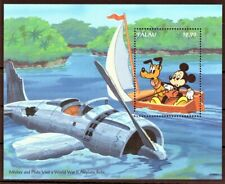 PALAU 1994 MICKEY AND PLUTO VISIT WWII AIRPLANE RELIC ANIMAT CARTOONS DISNEY MNH