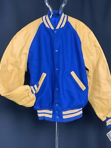 Authentic Letter Jacket Letterman XXL NWT Blue/Gold/White HOLLOWAY Leather