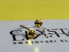 Adjustable SP Citrine Toe/Knuckle Ring made with Swarovski Crystal Elements