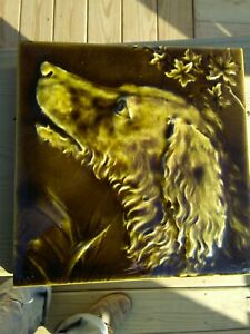 "Antique Trent Tile Raised Relief Green Dog 6"" x 6"""