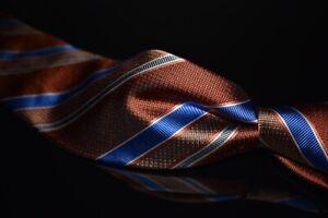 Robert Talbott Best Class Woven Satin Orange Textured Blue Multi Stripe Silk Tie