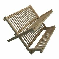 Folding Beech Wood  Dish Plate Drainer Foldable Draining Board Wooden Rack New