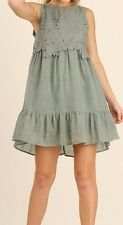 New Umgee USA Dress Lace Boho Chic Ruffle Sleeveless Small S