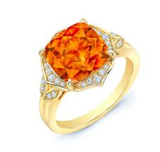 Amortiguador Citrina Diamante Anillo 14k Oro Amarillo Antiguo Diseño Mujer 3.96